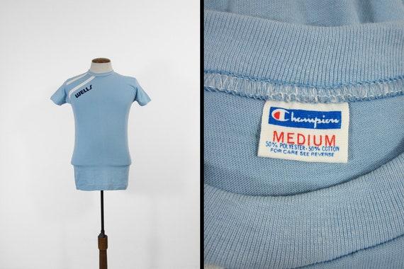 Vintage Wells College T shirt Champion Blue Bar Sport Tee Small
