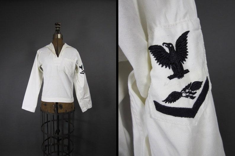 Vintage WWII US Navy Jumper Undress White Shirt Pullover image 0