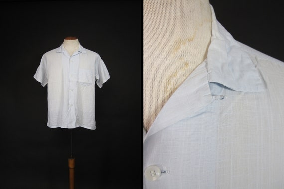 Vintage 50s Seawanee Blue Shirt Loop Collar Slubby