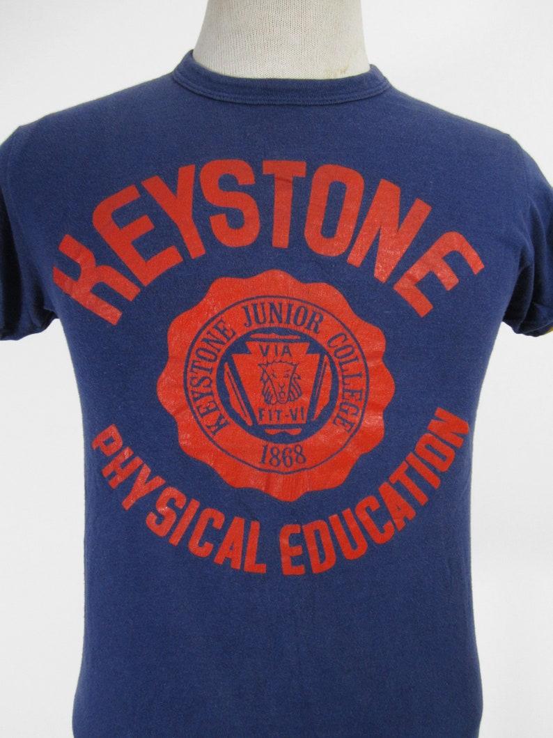 Vintage Keystone College T shirt Champion Reversible Tee Made in USA Small Medium