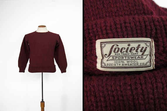 Vintage Society Boatneck Sweater Burgundy Wool 193