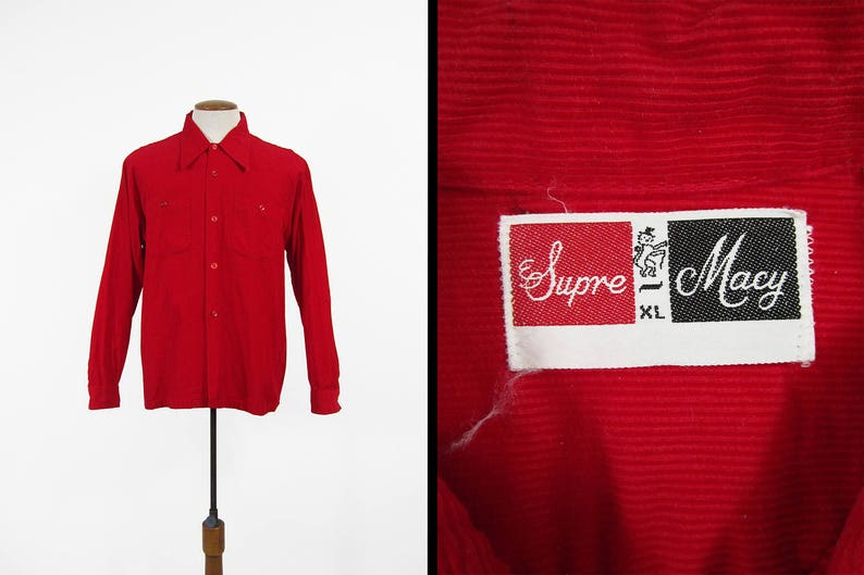 Vintage 60s Red Corduroy Shirt Supre Macy Casual Button Up Square Hem Men/'s Large