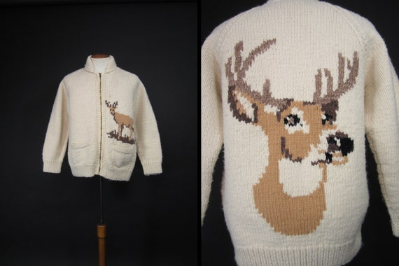 Vintage Deer Adirondack Sweater Heavy Zip Wool Sha