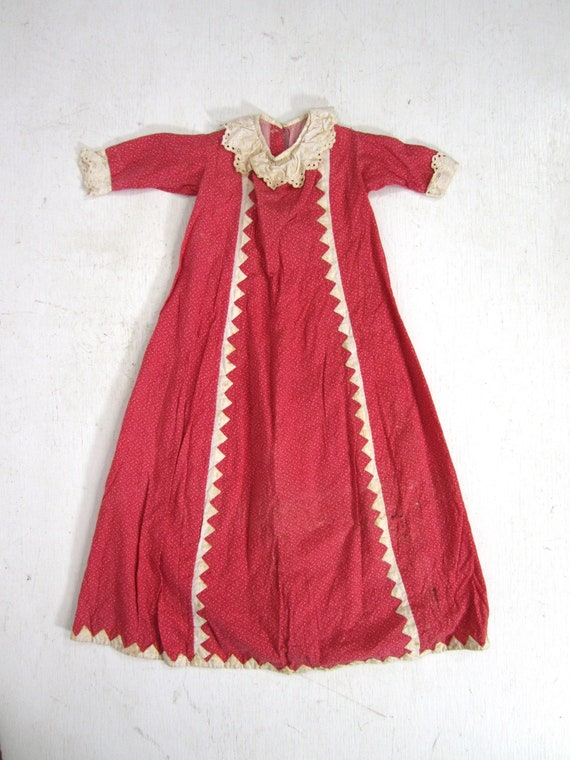 Antique Calico Dress Red Child's Long Primitive Ha