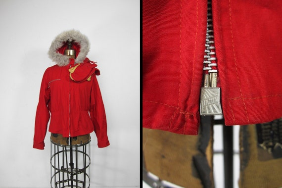 Vintage 30s Ski Jacket Ladies Fur Hooded Coat Wit… - image 1