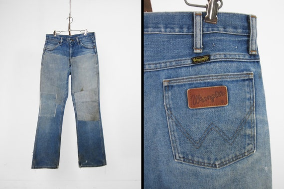 Vintage Wrangler Patched Jeans 70s Repaired Distre