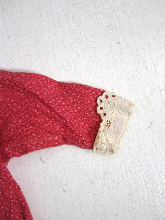Antique Calico Dress Red Child's Long Primitive H… - image 4