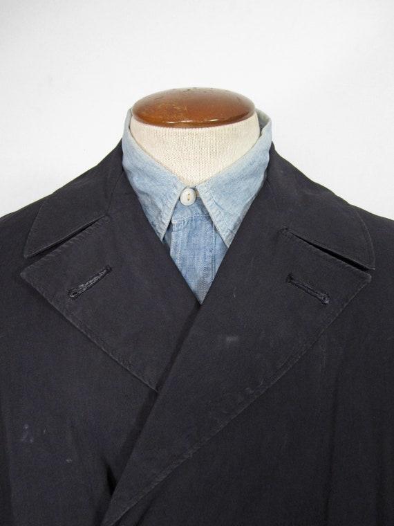 Vintage WW2 Raincoat US Navy Trench Coat Midnight… - image 2