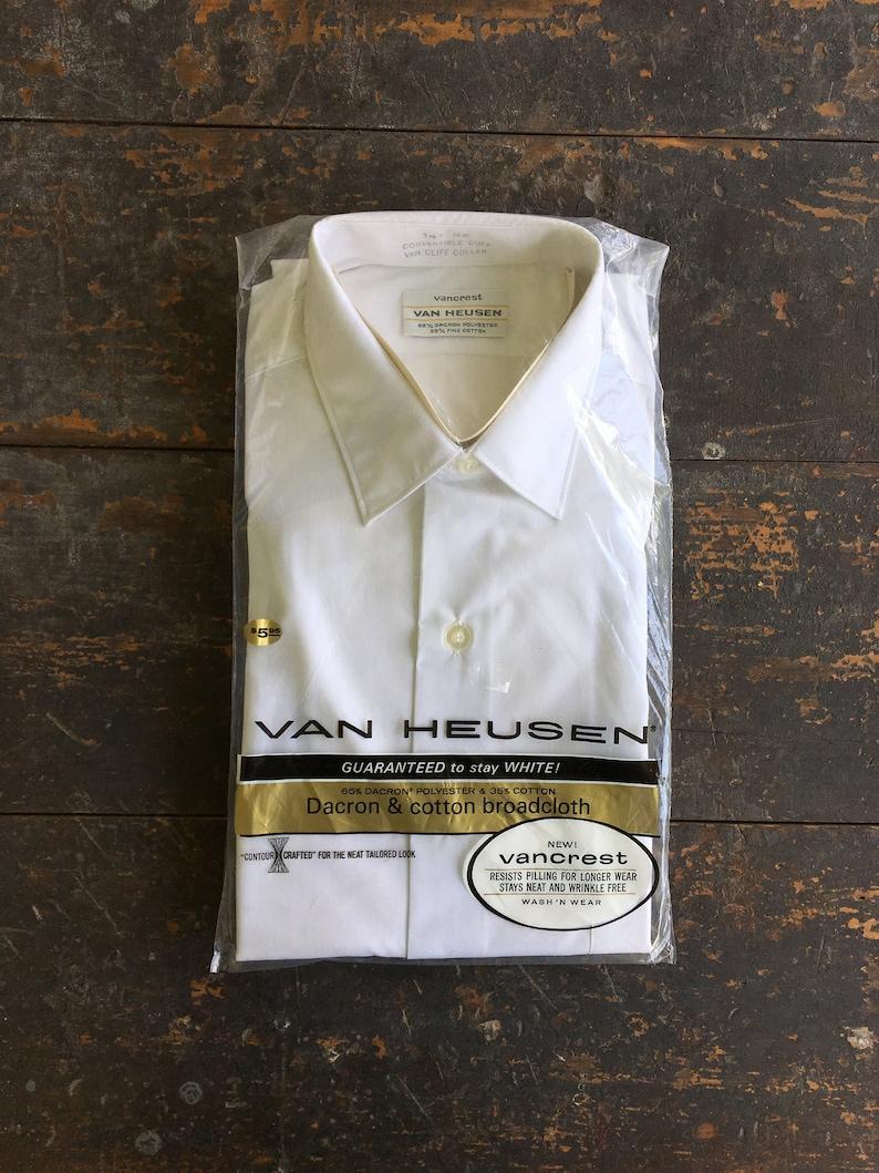 Vintage NOS White Dress Shirt Van Heusen 1970s Deadstock image 0