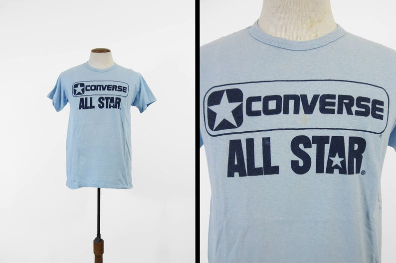 78ffb7bd074c Vintage 70s Converse Shoes T-shirt Blue All Stars Soft and