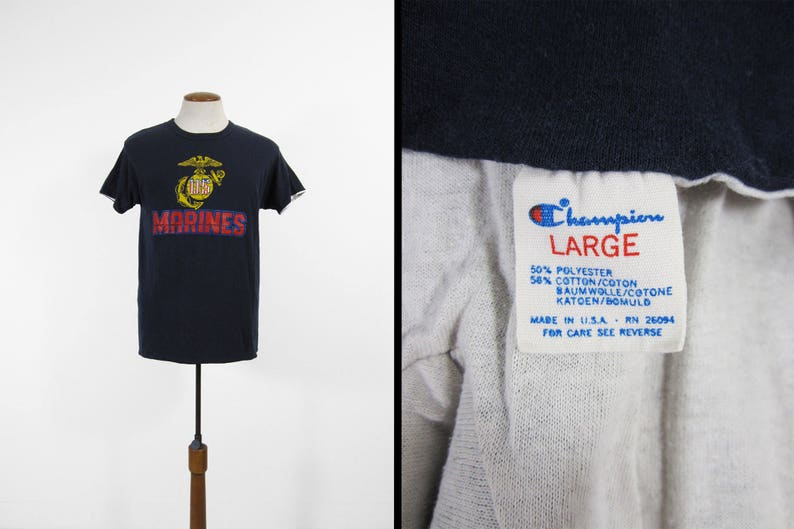 245eee15 Vintage Champion Marines T-shirt Double Layer 5050 Navy Blue | Etsy