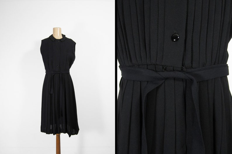 Vintage 60s Black Pleated Dress Sleeveless Button Wool  image 0