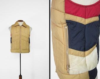 Vintage Puffy Ski Vest Brown Blue Retro Zip Up JC Penney - Small