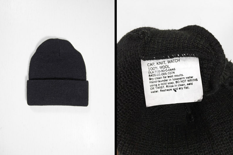 510678381 Vintage US Navy Watch Cap NOS Knit Hat Black Wool Military Winter Sailor  Beanie