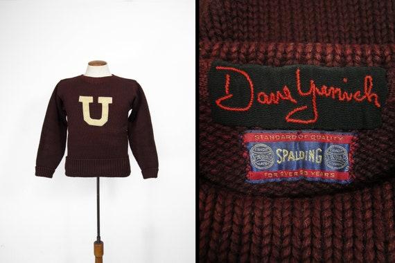 Vintage 30s Union College Sweater Spalding Burgund