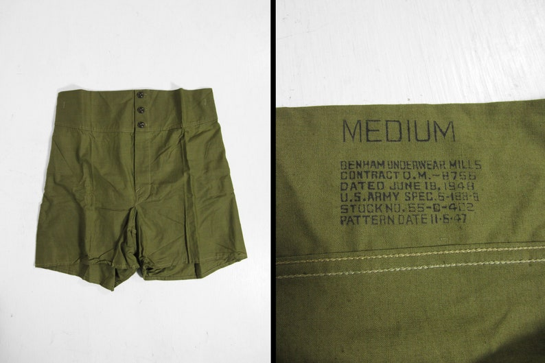 Vintage 40s US Army Boxers NOS Underwear Green Cotton Drawers image 0
