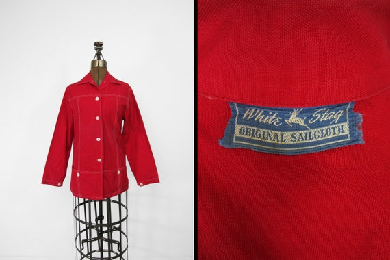 Vintage 50s Red Sailcloth Shirt Jacket White Stag