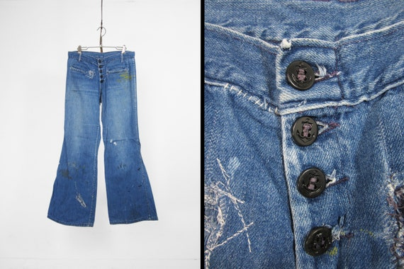 Vintage Navy Denim Jeans Button Fly Bell Bottoms P