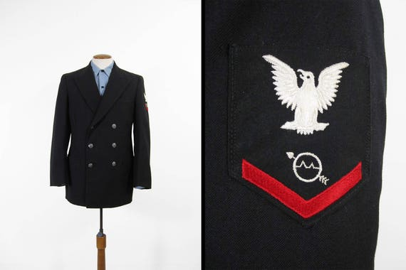 Vintage Us Navy Uniform Jacket Black Wool Dress 1970s Usn Etsy