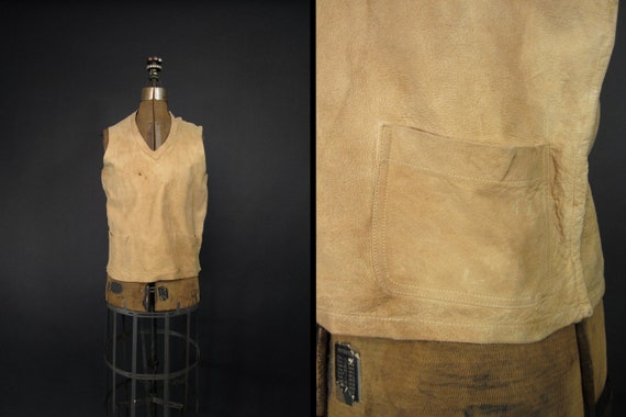 Vintage 30s Deerskin Vest Leather Pockets Women's