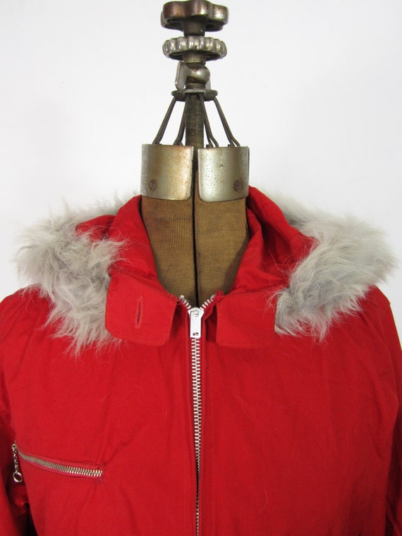 Vintage 30s Ski Jacket Ladies Fur Hooded Coat Wit… - image 4