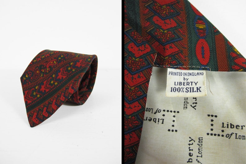 Vintage Silk Paisley Necktie Red Liberty of London Printed in image 0
