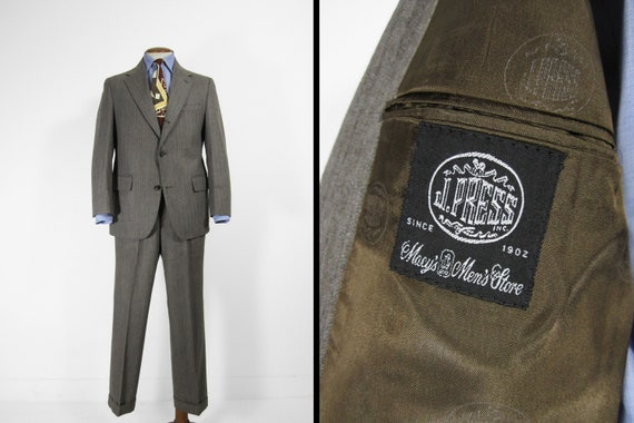 Vintage J Press Tweed Suit Herringbone Brown Wool