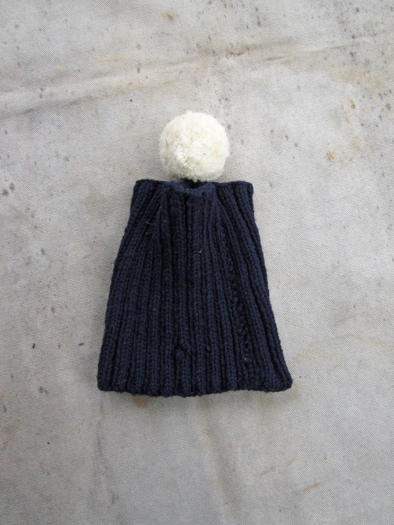 cdd6c9b4ed5 Vintage 50s Navy Knit Hat Open Top Pom Pom Blue Stretchy Wool