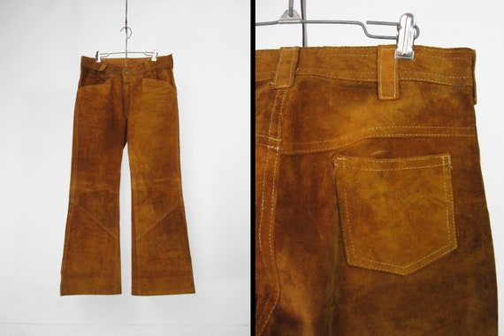 Vintage 60s Leather Pants Hippie Suede Men's Bell