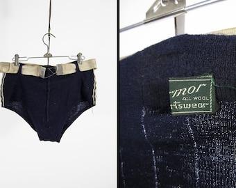 Vintage 1930s Men's Swimsuit Belted Wool Swimming Trunks Harmor Sportswear