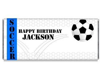 Chocolate Handouts for Soccer Teams Soccer Candy Bar Wrappers Set of 12 Soccer Birthday Party Favors #IDBB160