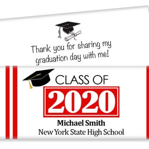 Diploma Colored Ribbon Graduation Mini Bar Wrappers Class of 2020 Mini Labels