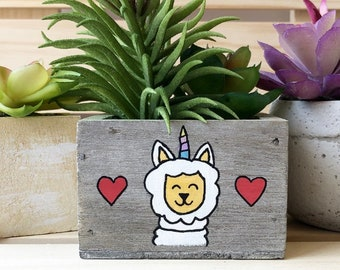 Llama Decor, Unillama, Llamacorn, Succulent Plant, Fake Plant, Unicorn Llama Planter, Gift for Her, Spring Plant Gift, Animal Garden Box