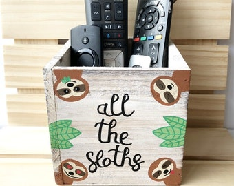 Sloth Gifts, Sloth Planter, Sloth Remote Holder Bin, Succulent Planter, Sloth Lover Gift, All the Sloths, Decorative Bin, Rustic Wood Box