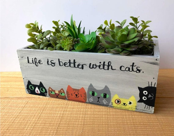Cat Lover Gift Small Whitewashed Rustic Wood Box Cat Gifts Cat Planter Cat Garden Gift Cat Planter All the Cats Succulent Planter