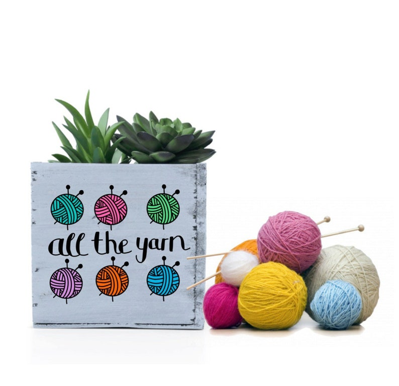 Yarn Lover Succulent Planter Gift for Knitters Knitting image 1