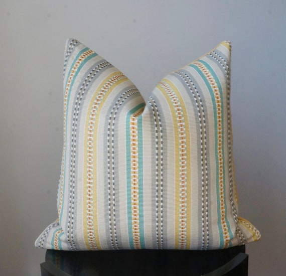 Fantastic Striped Teal Yellow Gray Throw Pillow Couch Pillow Bed Pillow 100 Cotton Pillow Kravet Echo Collection 20X20 Square Pillow Cover Pdpeps Interior Chair Design Pdpepsorg