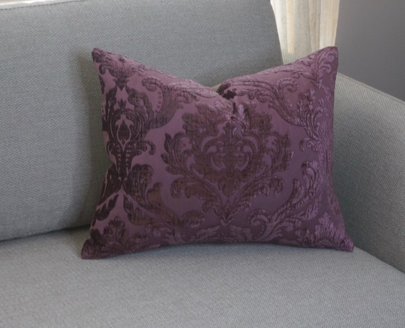 Damask Floral Pillow Cover 14x20 Plum