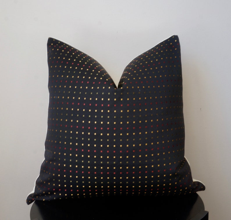 Pleasant Geometric Gold Red Green Square Dots Black Throw Pillow Embroidered Pattern Onyx Black Pillow Sofa Cushion Pillow Cover 20X20 Short Links Chair Design For Home Short Linksinfo
