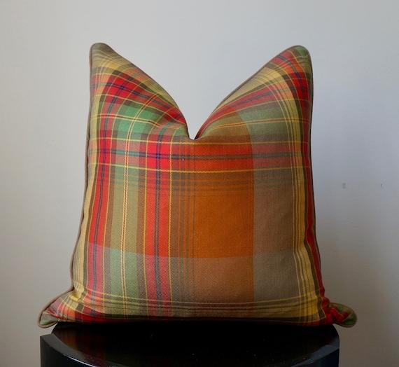 Designer Pillow Cover, Ralph Lauren Hanley Plaid Celadon, Red Brown Green Wool Plaid, OrangeGolden Yellow, Accent Pillows
