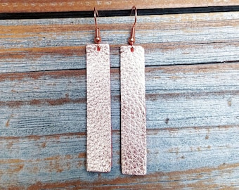 Leather earrings rose gold strip earrings handmade by Hammered Love Letters