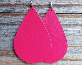 Pink Chevron Faux Leather Earrings