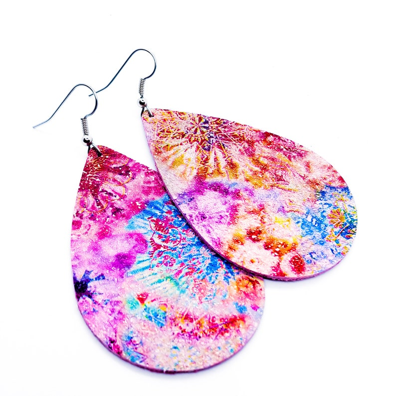 Leather Earrings tie dye on pink handmade by Hammered Love image 0