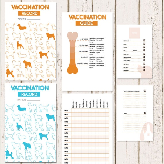 printable dog vaccine health record pet care record book etsy