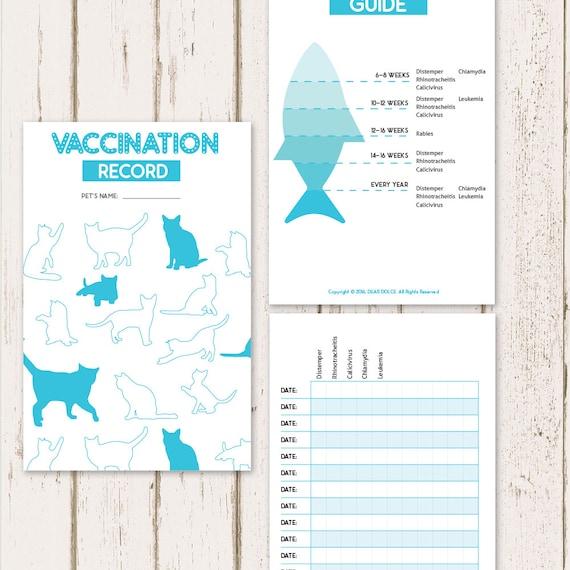 printable cat vaccine health record pet care record book etsy