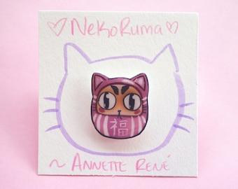 Nekoruma pin! Cat pin, Daruma pin, Japanese pin, Bodhidharma, Asian pin, plastic pin, kawaii pin, lapel pin, handmade pin, artist pin, Japan