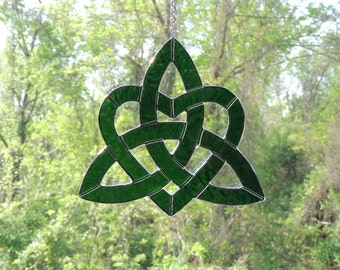 Celtic Trinity Knot with Heart Stained Glass