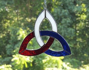 U.S.A.  Flag Celtic Trinity Knot Stained Glass