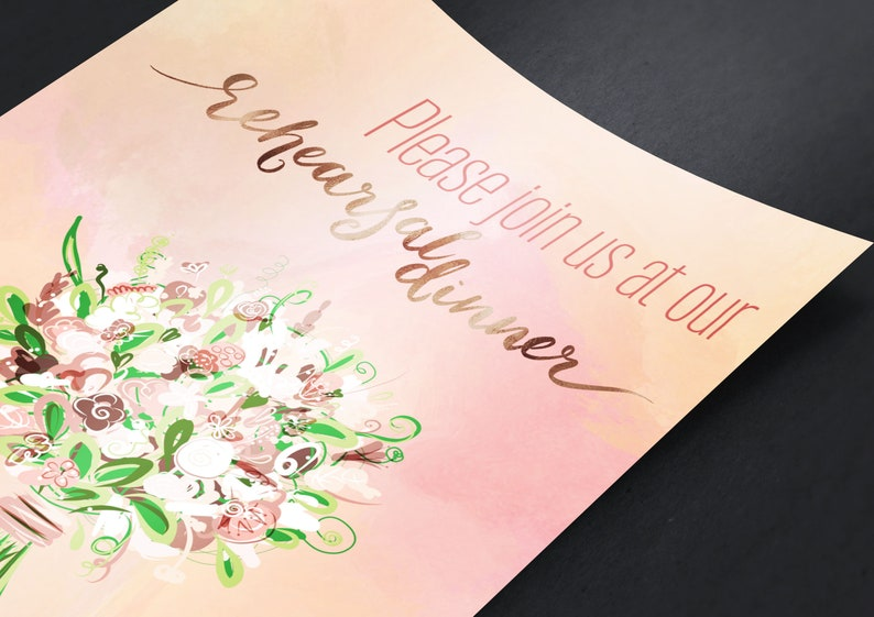 Peach Watercolor Background Personalized Reception Invitation By Bert Jones 5x7 Folded card with envelope