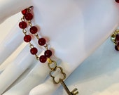 Red Glass Bead Necklace with Key - Handmade